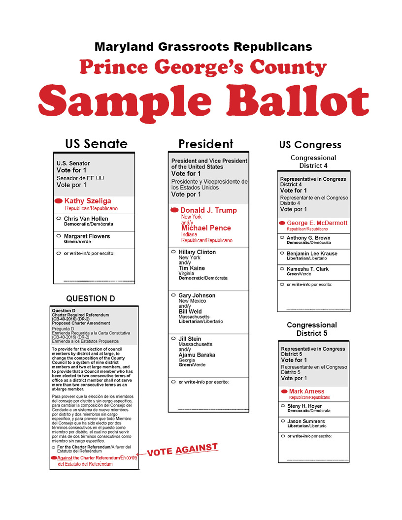 Prince George's – Republican Sample Ballot | The Northern Prince ...